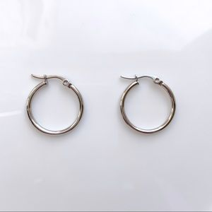 Jewelry - Silver Stainless Steal Mini Thin Hoop Earrings